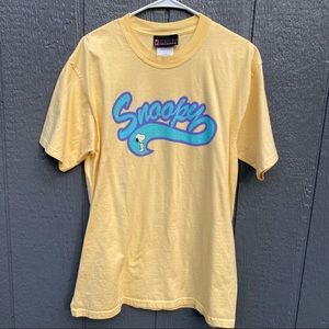 Snoopy Peanuts Collection Yellow T-Shirt Tee L
